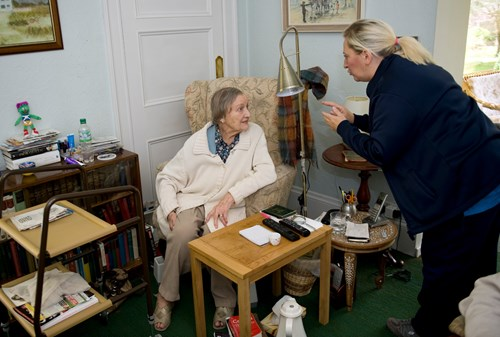 Women, social care worker at home